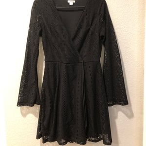 Xhilaration black crochet wrap dress